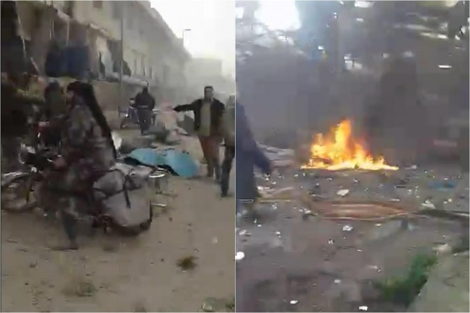 Afrin'de pazar yerine bomba yüklü araç saldırısı