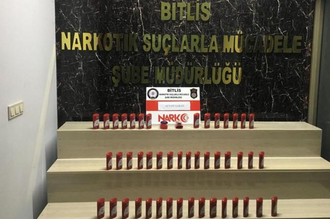 Bitlis'te kozmetik süsü verilen malzemelerden uyuşturucu çıktı