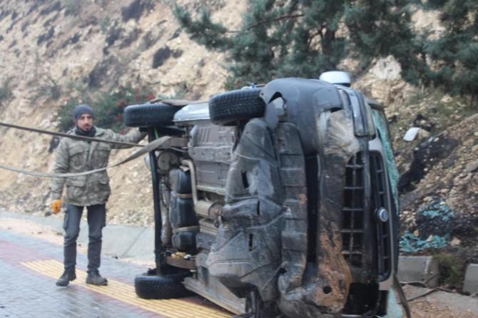 Gaziantep'te kayganlaşan yol kazaya neden oldu: 4 yaralı