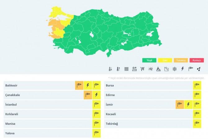 Kuzey Ege ve Marmara için fırtına uyarısı