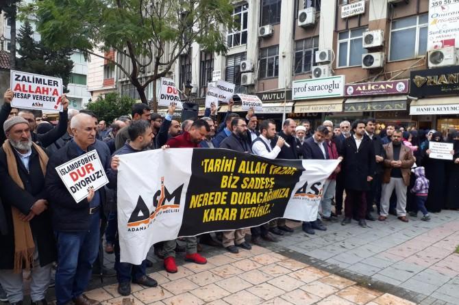 Yeni Zelanda'daki cami katliamı Adana'da telin edildi