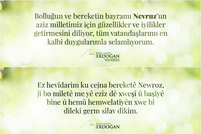 Cumhurbaşkanı Erdoğan'dan Türkçe ve Kürdçe 'Newroz' mesajı