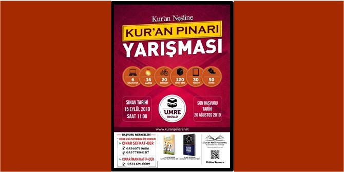 Çınar'da Kur'an Nesline Kur'an Pınarı Yarışması yapılacak