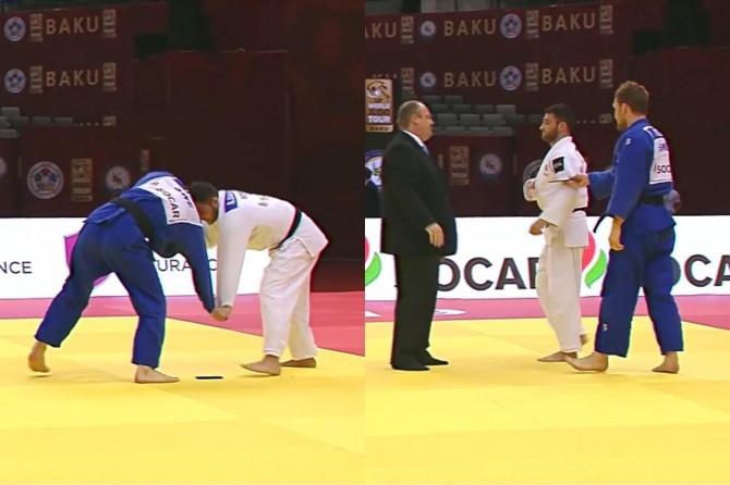 Kimonosundan telefon düşen judocu diskalifiye edildi