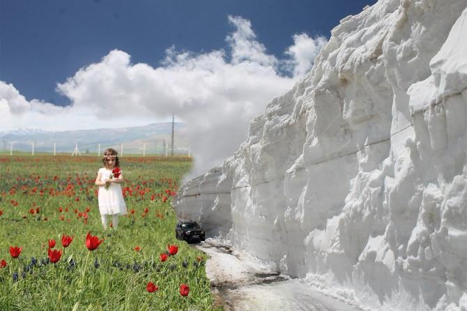 Muş'ta ovada bahar dağda kar
