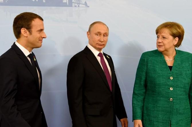 Pûtîn, Merkel û Macron meseleya Sûrîyê nirxandin