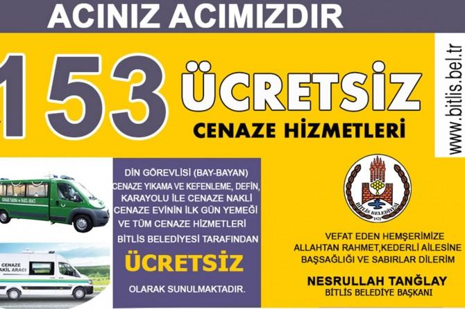 Bitlis Belediyesi cenaze sahiplerinin yemeğini de karşılayacak
