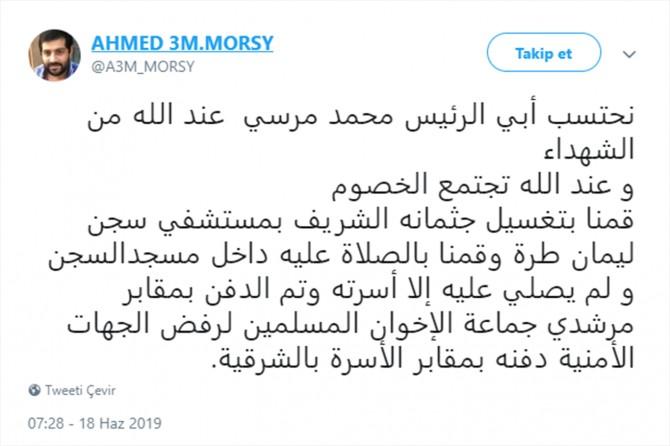 Ahmed Muhammed Mursî: Nehiştin tu kes beşdarî merasîma definkirina bavê min bibe