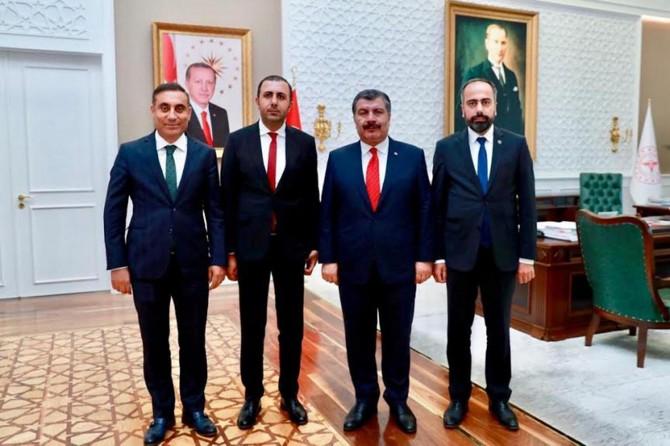 Van YYÜ Rektörü Hamdullah Şevli Sağlık Bakanı'nı makamında ziyaret etti