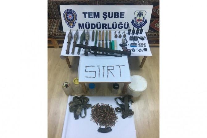 Siirt'te eylemlerde kullanılmak üzere hazırlanmış silah ve mühimmat ele geçirildi