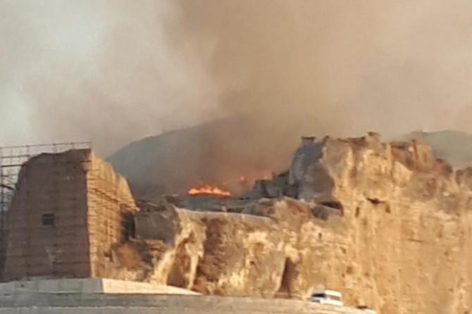 Hasankeyf Kalesi'ndeki yangın korkuya neden oldu