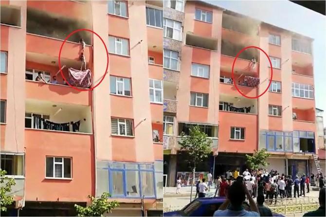 Doğubayazıt'ta yangında mahsur kalan çocukların kurtarılma anı yürekleri ağza getirdi