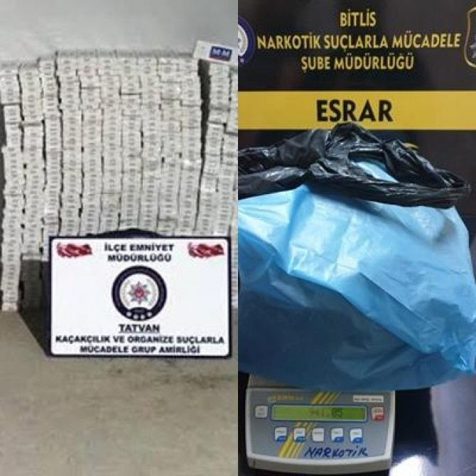 Bitlis'te kaçak sigara ve uyuşturucu operasyonu yapıldı