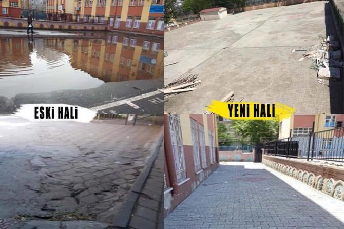 Bağlar Belediyesi Mesut Yılmaz İlkokulu bahçesinin parke taşları yenilendi