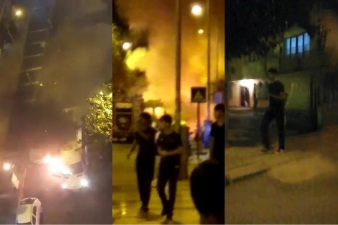 Diyarbakır Huzurevleri'nde minibüsü ateşe veren PKK'liler kameralara takıldı