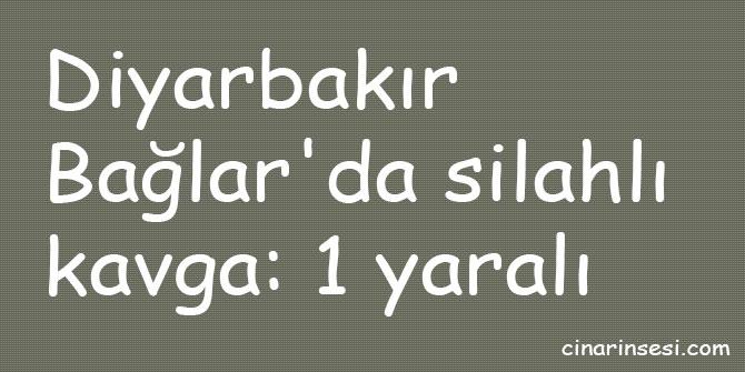 Diyarbakır Bağlar'da silahlı kavga: 1 yaralı
