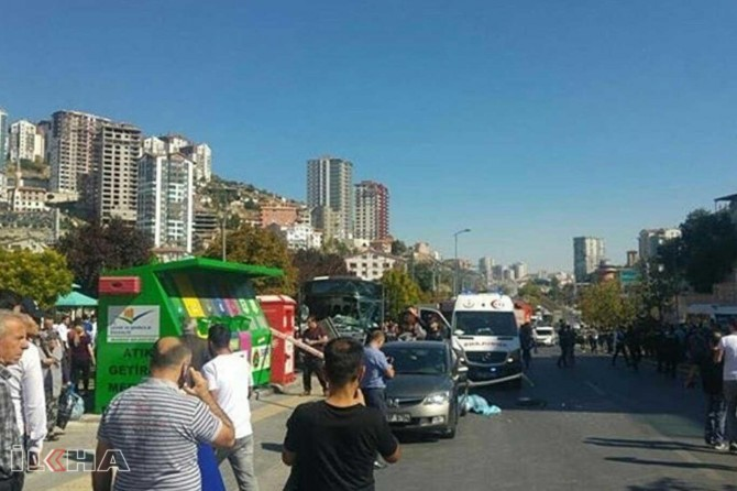 Bus plunges into a stop in Ankara kills three
