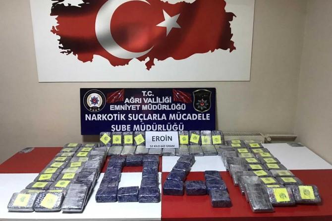 Ağrı'da 52 kilo uyuşturucu ele geçirildi