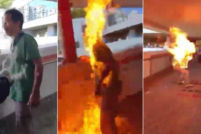 Çin yanlısı göstericiye benzin döküp yaktılar