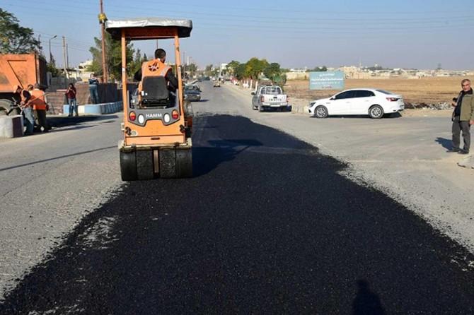 Tel Abyad'da yollar onarılıyor
