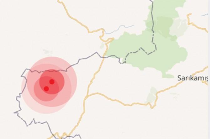 Sarıkamış'ta aynı anda 4.0 büyüklüğünde 2 deprem