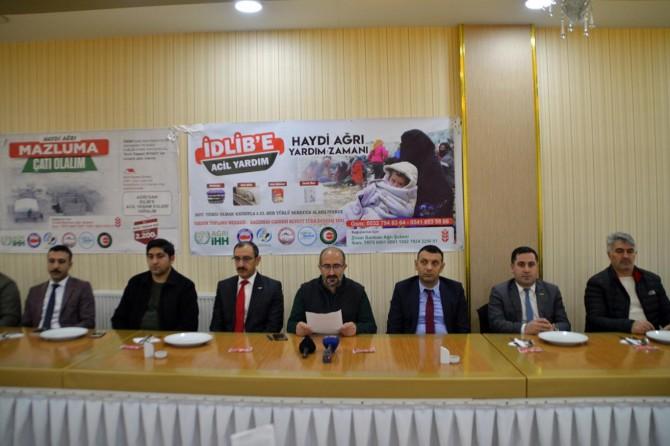 Ağrı'daki STK'lar İdlib için basın açıklaması yaptılar