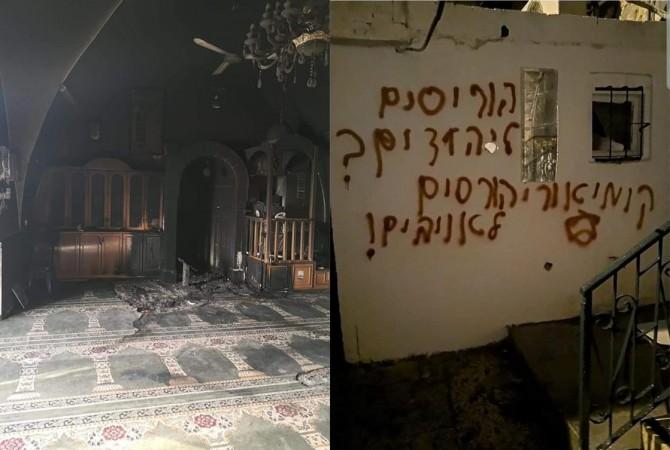 Zionist gangs torch mosque in Beit Safafa, Jerusalem