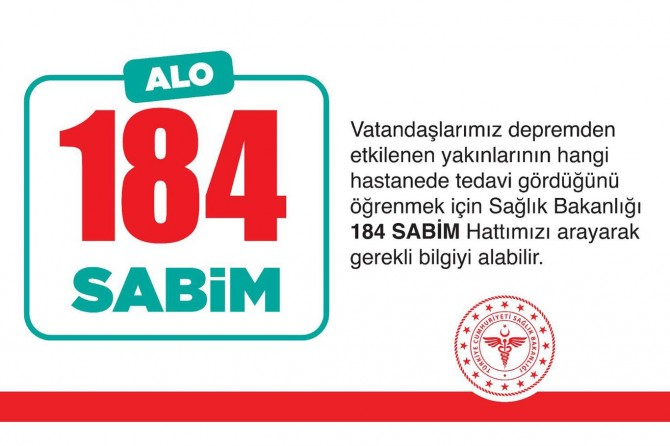 Depremde yaralananların tedavi gördüğü hastane 184'ten öğrenilebilecek