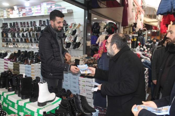HÜDA PAR Diyarbakır İl Başkanı Aktaş, esnafı gezerek onları 'Kudüs Mitingi'ne davet etti