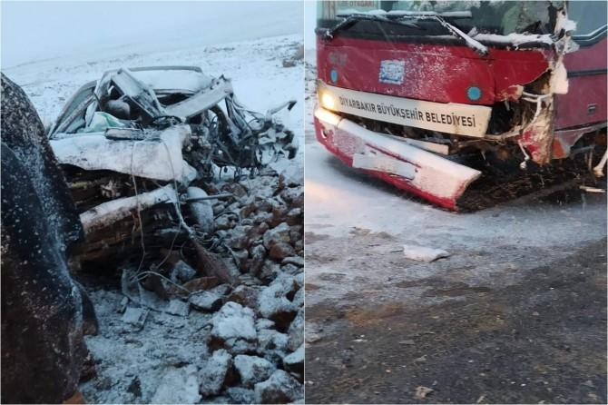 Çınar Avdalı'da belediye otobüsü ile pikap çarpıştı: 3 yaralı