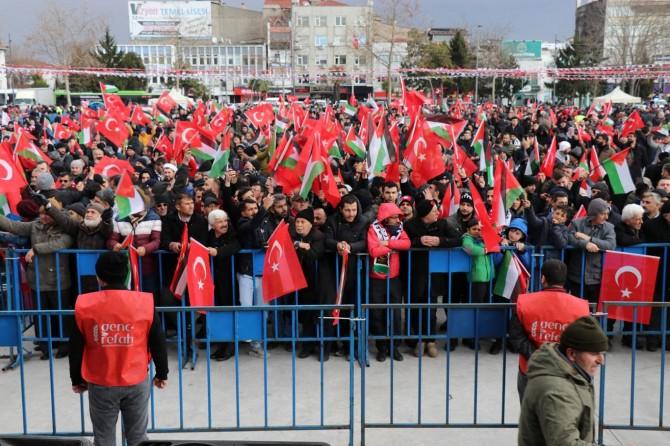 """Sakarya Kent Meydanı'nda """"Seninleyiz Kudüs"""" mitingi başladı"""