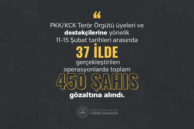 Di encama operasyonên PKK/KCKê de 450 kes hatin binçavkirin