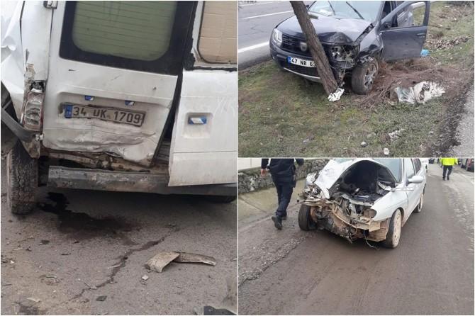 Diyarbakır'da 3 aracın karıştığı kazada 2 kişi yaralandı
