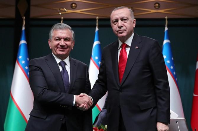 """Erdoğan: """"Özbekistan ile ticaret hacmimizi 5 milyar dolara çıkarmayı hedefliyoruz"""""""