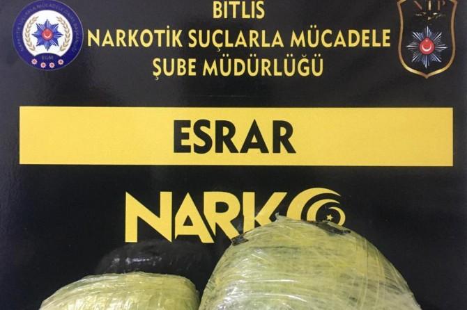 Bitlis'te 2 kilogram uyuşturucu madde ele geçirildi