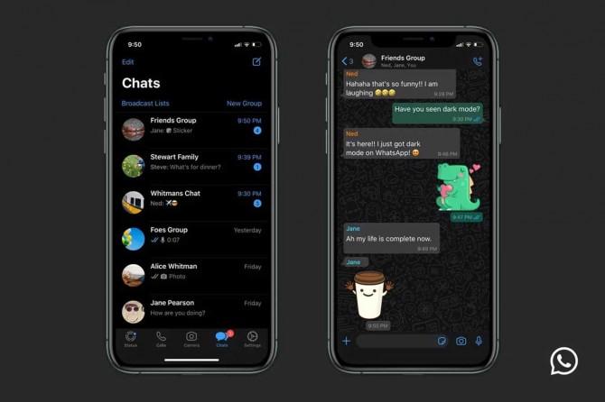 WhatsApp karanlık modu hizmete sundu
