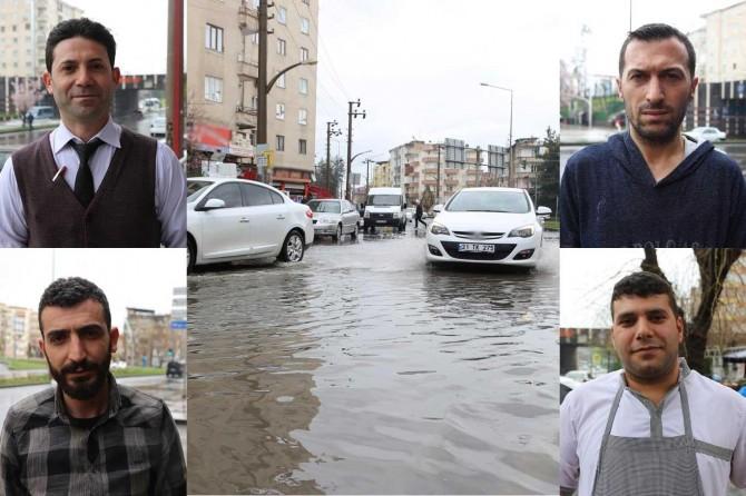 Diyarbakır'da her sağanak sonrası göle dönen cadde, esnafa ve halka eziyet veriyor