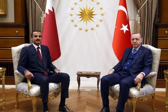 Cumhurbaşkanı Erdoğan, Katar Emiri Şeyh Temim bin Hamed es-Sani ile telefonla görüştü