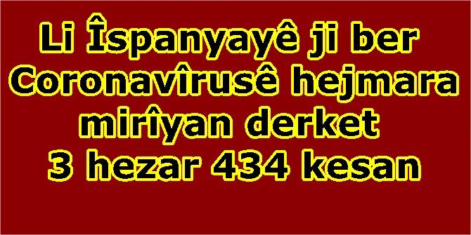 Li Îspanyayê ji ber Coronavîrusê hejmara mirîyan derket 3 hezar 434 kesan