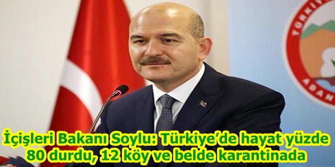 İçişleri Bakanı Soylu: Türkiye'de hayat yüzde 80 durdu, 12 köy ve belde karantinada