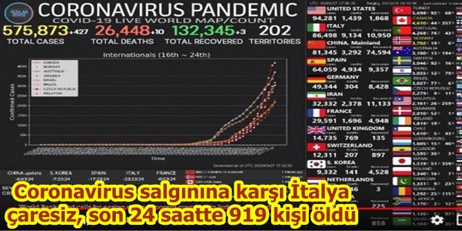 Coronavirus salgınına karşı İtalya çaresiz, son 24 saatte 919 kişi öldü