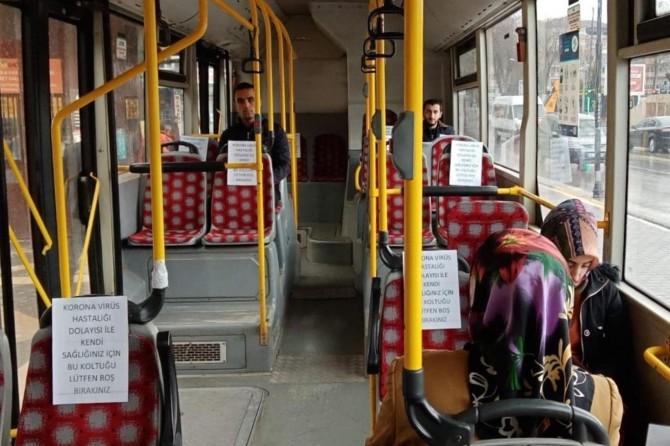 Malatya'da toplu taşıma araçlarında sosyal mesafe tedbirleri alınıyor