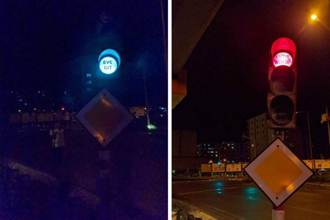 """Kızıltepe'de trafik ışıkları sürücülere """"eve git"""" diyor"""