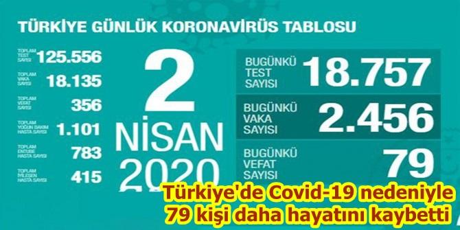 Türkiye'de Covid-19 nedeniyle 79 kişi daha hayatını kaybetti