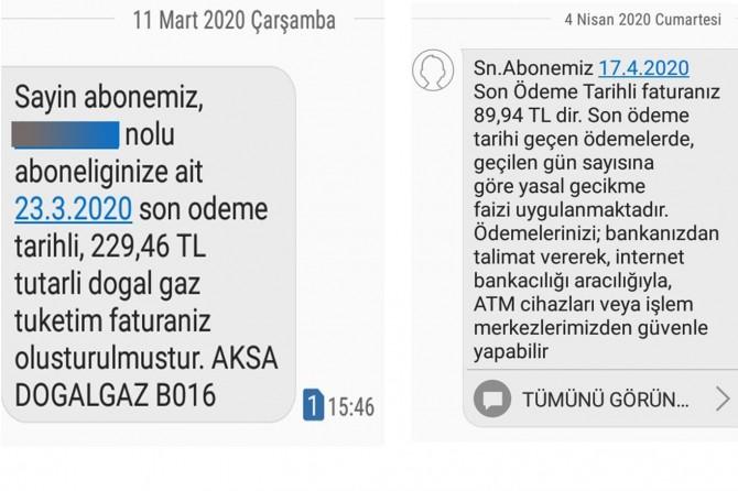 Doğalgaz şirketinin abonelerine göndermiş olduğu SMS'ye tepki