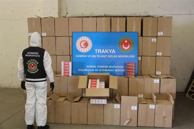 Kapıkule'de 3 milyon 270 bin makaron ele geçirildi