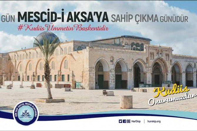 """HÜR EKİP'ten dünyaya """"Kudüs Ümmetin Başkentidir"""" mesajı"""
