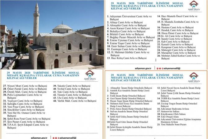 Adıyaman'da ibadete açılan cami ve alanlar belirlendi
