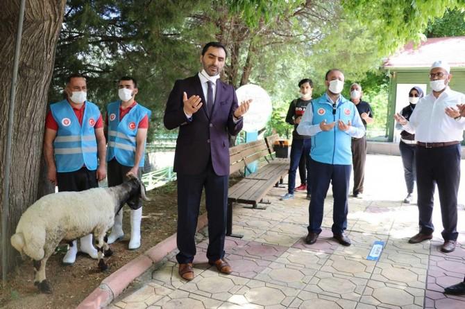 Gaziantep'te Camilerin ibadete açılması dolayısıyla şükür kurbanı kesildi