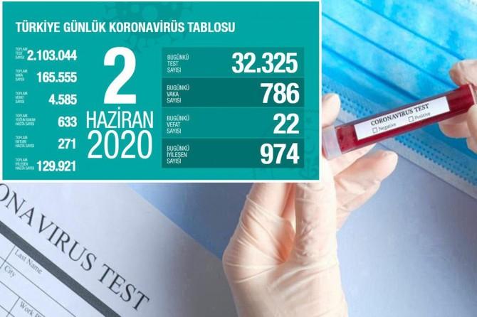 Türkiye'de Covid-19'dan 22 kişi daha hayatını kaybetti, 786 yeni tanı kondu